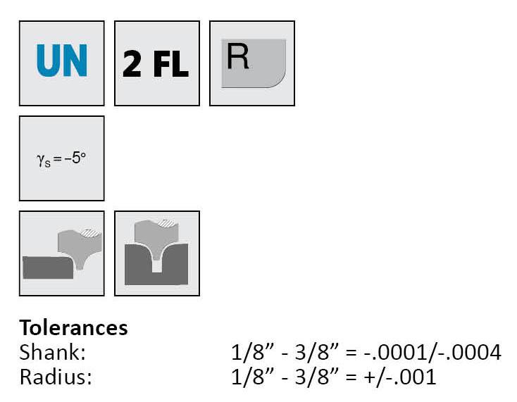 """1//2/"""" Diameter 3 Flute TiCN Carbide End Mill .060/"""" Corner Radius Design-Rite USA"""